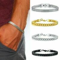 Men's Punk Stainless Steel Silver Chain Link Bracelet Wristband Cuff Bangle Gift