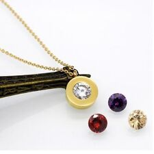 Gold Screw Stainless Steel Round Interchangeable Zirconia Pendant Necklace PE10