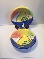 Bella Ceramica Fruit Motif Lot of 2 Serving Bowls Pear Grapes Colorful 8.6""
