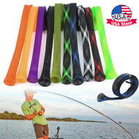 10Pcs Fishing Rod Sock Covers Braided Mesh Pole Protector Sleeve Fish Tool USA