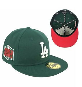 Dodgers World Series 2020 Side Patch Dark Green New Era Fitted Hat Cap Red UV