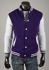 US Seller Slim Fit Letterman Jacket White Snap Varsity Top College Coat PK45