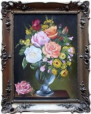 Hungarian Realistic Still Life Painting by Georgina Nemethy of Flowers in Vase