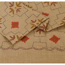 Sanskriti  Cream Woolen Shawl Hand Embroidered Long Stole Soft Warm Scarf