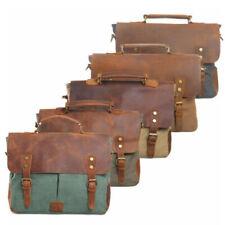 """Men's Real Leather Canvas Shoulder Bag Satchel 14"""" Laptop Cross body Bag Handbag"""