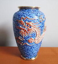 """Dragonware Porcelain Vase 5"""" Blue Orange Beige Moriage Dragon 1940s 50s Japan"""