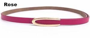 Real Leather Waist Belt Gold Pin Buckle Thin Waistband Fashion Women's Belt