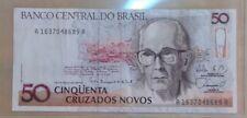 1989 $50 Cinquenta Cruzados Novos Brazil Banknote No Reval Stamp Collectible