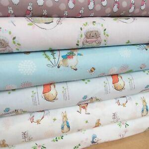 Beatrix Potter Peter Rabbit Fabrics-100% cotton 9 Designs Flopsy Bunny PER 25cm