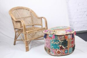 """Ottoman Cover Indian Patchwork Handmade Vintage Round Footstool Ethnic Pouf 18"""""""
