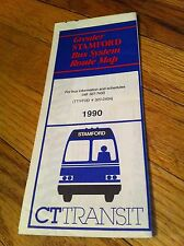 CT Connecticut Transit Greater Stamford Bus System Route Map 1990 Brochure RARE