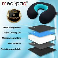 Medipaq® Memory Foam + Gel Travel Neck Cushion - WARM & COOL Head Rest Pillow