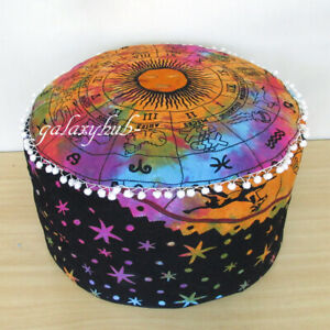 "18"" Round Multicolor Tie Dye Pouf Ottoman Floor Decorative Footstool Pouf Cover"