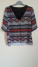 River Island Black Grey and Orange Geometric Top Party Short Sleeves Size 10