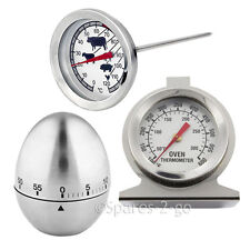 Meat Poultry Food Thermometer BBQ Oven Temperature Cooking Probe Stainless Timer