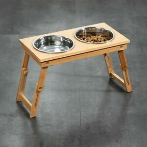 Raised Pet Bowls for Small Dogs and Cats, Adjustable Height Bamboo Elevated NEW