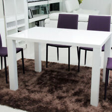 High Gloss White Dining Table Modern Design 4-6 Seat Kitchen Furniture 140cm