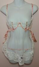 NWT Victoria's Secret Designer Collection Babydoll 2 PC 32C White W/pink Floral