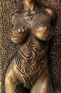 Girl Dragon Tattoo Bronze Nude Erotic Female Torso Sculpture Wall Hanging Front