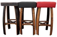 PUB-BAR-BISTRO STOOLS   Black Leather Seat   Handcrafted Oak Barrel Furniture