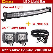 "42"" 240W Curved CREE 4D Lens LED Light Bar+ Wiring Kit+ 2X 18W Spot Pod Lights"
