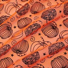 Orange Halloween Tulle Net Fabric Black Patent Funky Pumpkin Print (Per Metre)