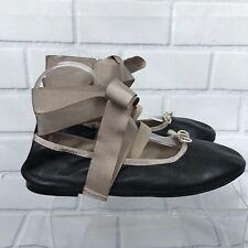 Topshop Le Petite Ankle Tie Ballet Flat Size 38 Euro 7 US Color Black Nude