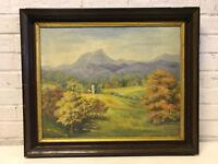 Vintage Antique Lillian Renshaw Oil on Canvas Board Mountain Landscape Painting