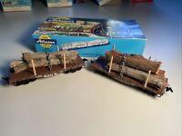 Lot Of 2 Athearn FLAT CAR GONDOLA SANTA FE ATSF #42392 HO 2506 Lumber Customized