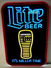 """Miller Lite LED Sign Motion Glass Emptying Its Miller Time 17"""" x 12""""  New & F/S"""