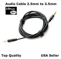 Lot of 10 Aux 2.5mm to 3.5mm Audio Cable Cord Headphone Car PC Connect Cable 5FT