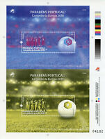 Portugal Football Stamps 2016 MNH UEFA Euro 2016 Winners 2x 1v M/S Colour Proof