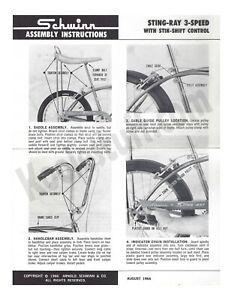 SCHWINN 1966 Stingray 3 Speed  Stik-Shift Assembly Instructions Original