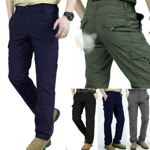 Men Work Multi-Pockets Cargo Pants Climbing Tactical Hiking Quick Dry Outdoor AU