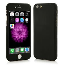 iPhone 6 / 6S Fitted Full Body Slim Fit Case. Black Cover + Glass Screen