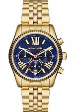 Michael Kors Watch * MK6206 Lexington Midsize Chrono Blue Face Gold Steel Women