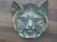 Cat Face Trinket Dish change tray Jewelry spoon rest old rustic vintage brass 4""