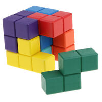 Wooden Soma Cube  Puzzle Box Stacking Blocks 3D Brain Teaser Toy
