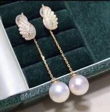 Certified Genuine Natural White Pearl Earrings S925 Sterling Silver Women Gift