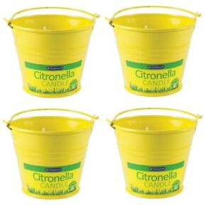 4 x Chatsworth Citronella Bucket Candle Outdoor Dining Garden Pest Control 8.5cm