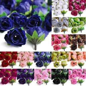 50pcs 3x3.5cm Small Tea Rose Bud Silk Artificial Flower Heads Wedding Decor Lots
