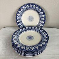 """SET 7 Williams Sonoma Dinner Plates Blue No Chips No Cracks 11"""" Dishwasher Safe"""