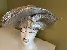 George Zamau'l Couture Silver Rhinestone Foiled Straw Dress Hat