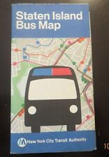 VINTAGE - 1977 - STATEN ISLAND, NYC, COLOR BUS MAP - N.Y.C. T.A. (39 YEARS OLD)