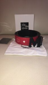 AUTHENTIC red/black reversible mcm belt size 30-32 waist or 90cm