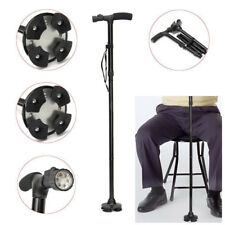 250lbs Aluminium Foldable Walking Stick Cane LED Light Pivoting Stands Base