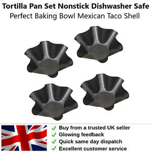 Perfect Tortilla 4 x Pan Set Non Stick Dishwasher Safe Taco Baking Set Quick P&P