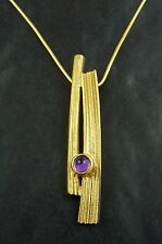 Ola Gorie 9ct Yellow Gold Woodwick Pendant Amethyst Boxed Scottish