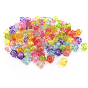 Mixed-Colour Acrylic Beads Faceted Cube 10mm Pack Of 100+