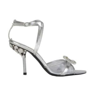 53680 auth CHRISTIAN DIOR silver leather EMBELLISHED Sandals Shoes 36